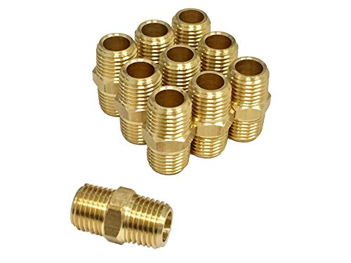 Pipe Fitting and Air Hose Fitings, Hex Nipple Coupling Set - 1/4-Inch NPT x 1/4-Inch NPT,Solid Brass, Male Pipe- 10 Piece (Male 1/4 Coupling)