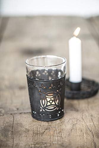 H/öhe 2 cm Kerzenhalter- Kerzenst/änder schwarz /Ø 7,5cm Metall IB Laursen