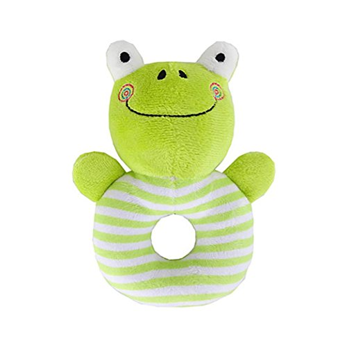 E-SCENERY Baby Plush Toy Developmental Interactive Toy Infant Kids Baby Development Soft Animal Handbells Rattles Handle Toys For Crib, High Chair And Interactive Playing (Frog) (Rattle Frog Plush)
