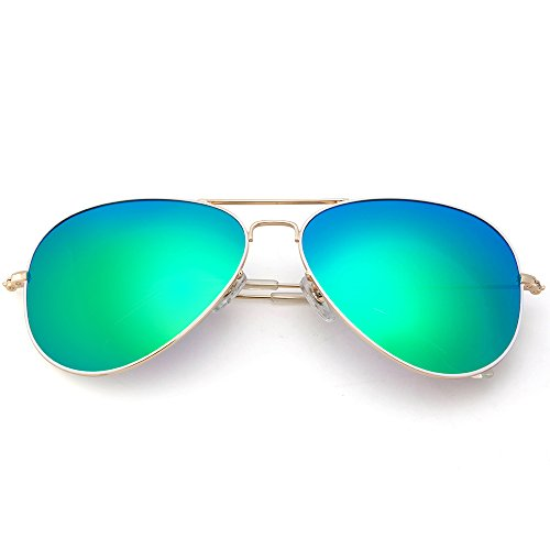 MT MIT Classic Aviator Polarized Mirrored Lens Sunglasses for Men Women 100% UV - Lense Mirrored Sunglasses