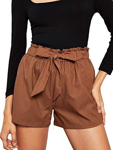 SweatyRocks Women's Casual Elastic Waist Seft Tie Summer Beach Shorts with Pockets Brown Medium
