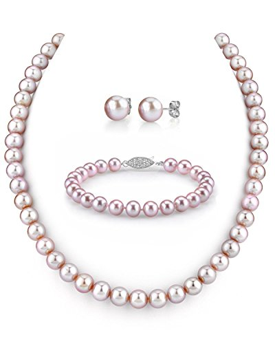 14K-Gold-7-8mm-Pink-Freshwater-Cultured-Pearl-Necklace-Bracelet-Earrings-Set-17-AAA-Quality