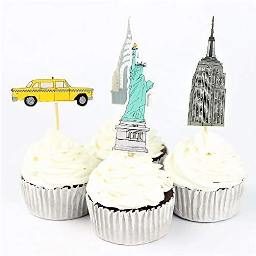 Various Fun Designs of Cupcake Toppers for Birthday/Events/Party sets of 24 (New York Landmarks) ()