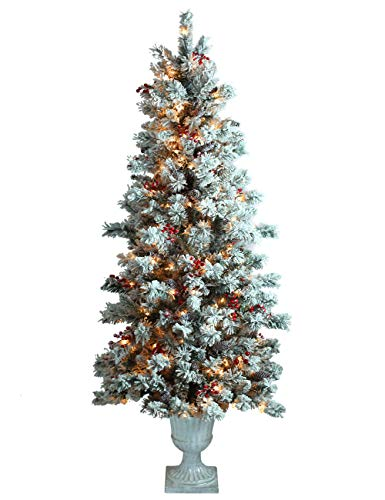 ABUSA Prelit Potted Pencil Christmas Tree 6.5 Feet with Pine Cones Berries 200 LED Lights 428 Branch Tips Flocked Slim Xmas Tree (Flocked Xmas Trees)