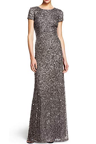 Adrianna Papell Women's Short-Sleeve All Over Sequin Gown (Lead, 6P)