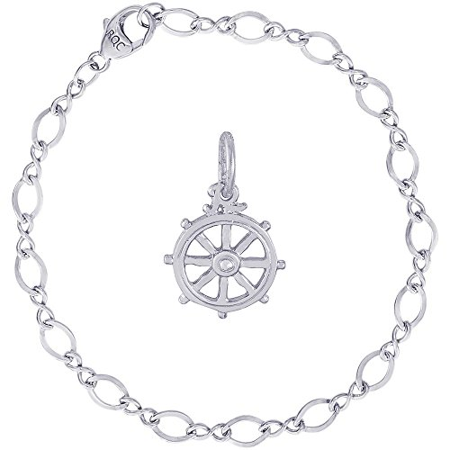 Rembrandt Charms Sterling Silver Ships Wheel Charm on a Figure Eight Link Bracelet, 8