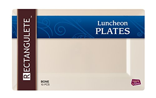 - Rectangulete 12'' Rectangle Bone Luncheon - Dinner Party Plates, Disposable, Hard Plastic, Elegant Party Plates. 10 Ivory Party Luncheon - Dinner Plates Per Package