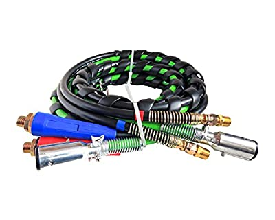 Road King 3 In 1 Wrap - 7 Way Truck And Trailer Electric Cord Cable Abs & Air Line Hose Assembly, 15' Working Length