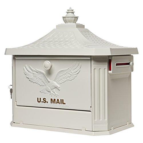 Gibraltar Mailboxes Hamilton Large Capacity Cast Aluminum White, Post-Mount Mailbox, HM200W00