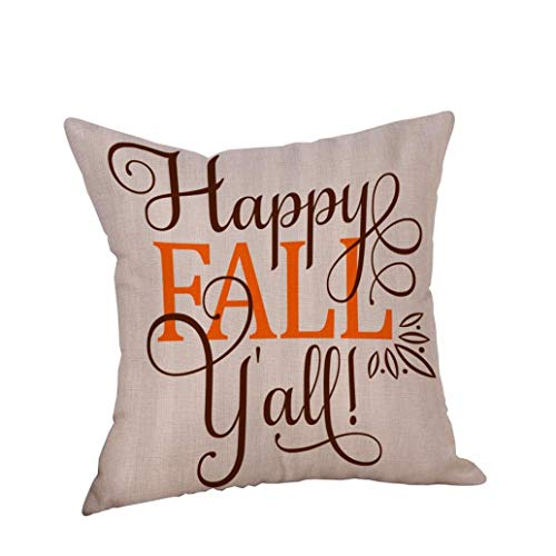 Pillow Cases Linen Sofa Cushion Cover Home Decor Letters Happy Halloween Orange Naughty Fox (A)