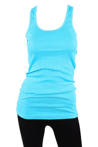 (Sofra Women's Tank Top Cotton Ribbed-Small-Aqua Blue)