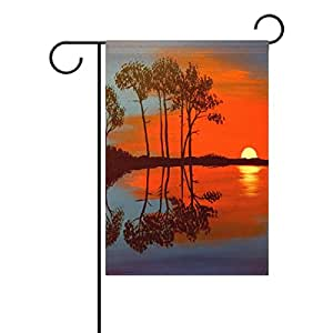 Sunlome Sunset Reflections Painting Garden Flag Double Sized Print Decorative Holiday Home Flag , 12 x 18 inches