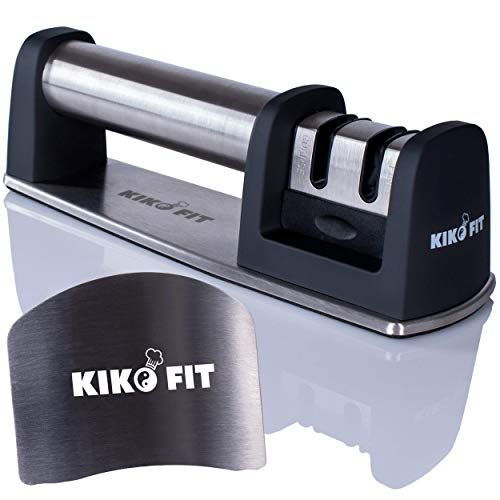 Kiko Fit Knife Sharpeners Kit - 2 Stage Professional Honing for Straight and Serrated Blades + Safe- Chopping Adjustable Finger Guard, Sharpens Dull Knives Quickly and Easy to Use ()