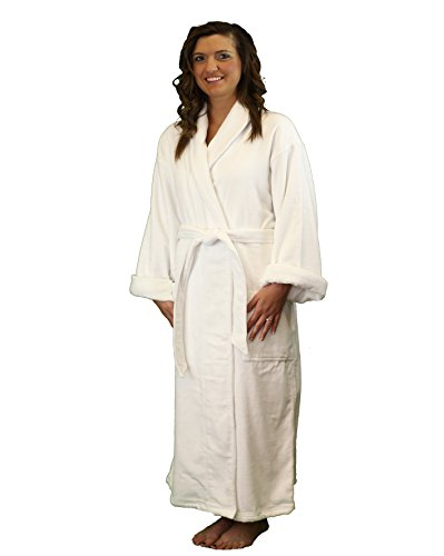 Terry Velour Shawl Bathrobe - Luxury Hotel & Spa Quality Bathrobe for Women and Men - WHITE - ONE SIZE FITS MOST