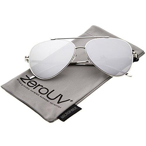 zeroUV - Mod Fashion Teardrop Rimless Mirror Flat Lens Metal Frame Aviator Sunglasses 58mm (Silver / Silver - Aviator Optics