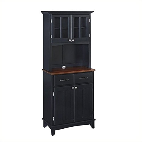 BOWERY HILL Buffet with 2 Door Panel Hutch in Black ()