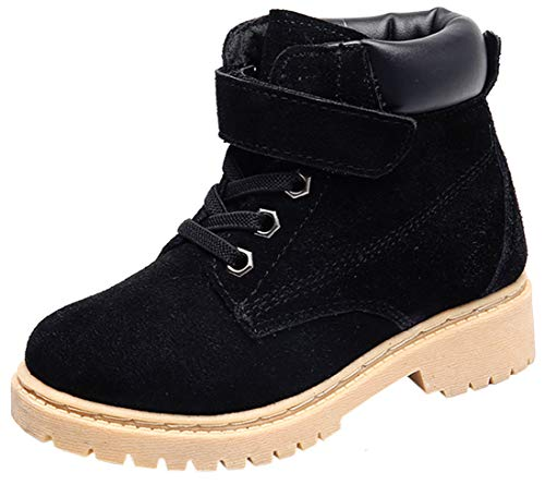 DADAWEN Boy's Girl's Classic Waterproof Leather Outdoor Strap Winter Boots (Toddler/Little Kid/Big Kid) Black US Size 9 M Toddler
