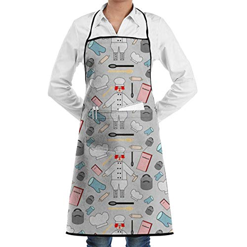 NOLIEE Chef Cooking Adjustable Kitchen Chef Apron with Pocket and Extra Long Ties