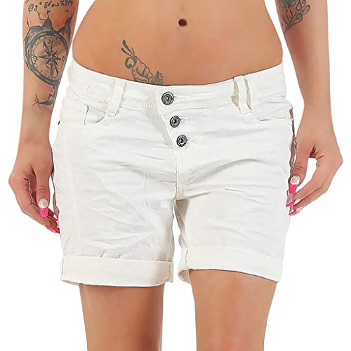 Toponly Causal Comfy Cotton Linen Shorts for Women Solid Button High Waist Slim Fit Short Pants White