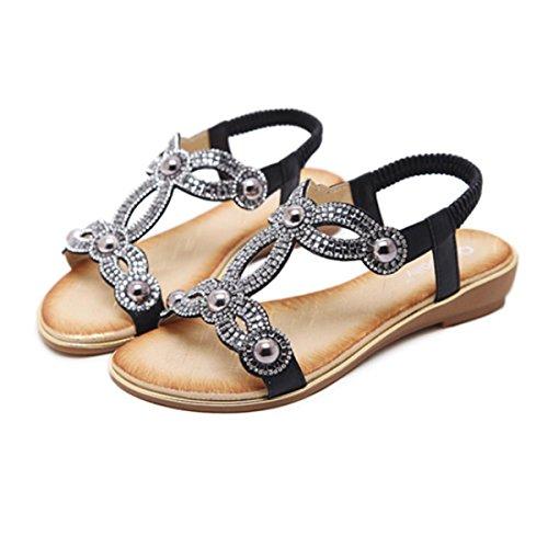 Women T- Strap Thong Flat Sandals Summer Beach Crystal Flip Flops Shoes (US6, Black 3)