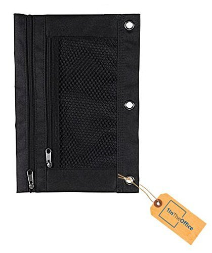 1InTheOffice Pencil Pouch 3 Ring, Black,''2 Pack'' (Canvas Black)