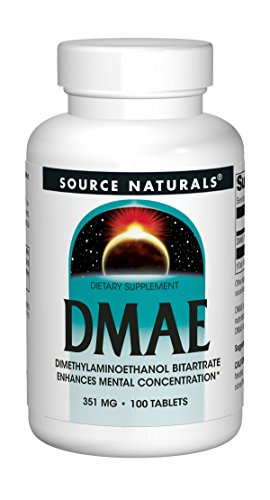 Dmae Dimethylaminoethanol 100 Tablets - Source Naturals DMAE Dimethylaminoethanol Bitartrate 351mg Supplement - 100 Tablets