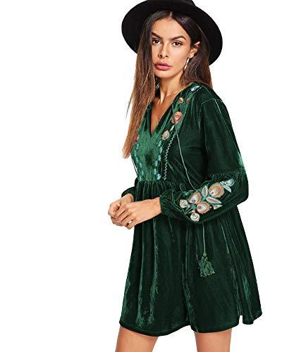 980fed3d8c31 Aox Women's Vintage Floral Embroidered A line Velvet Short Party Dress Plus  Size (S,