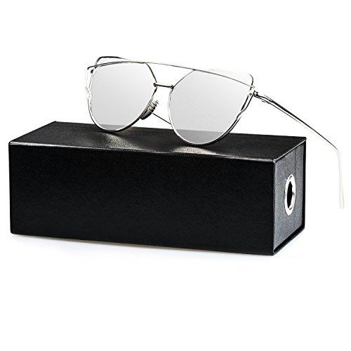 Soleil 02 UV400 Cateye Femmes Argenté de de Plats Polarisées Œil Miroité Chat SUNVON Unisex Verres Fille Lunette Sunglasses Lentille qUwSOBUE