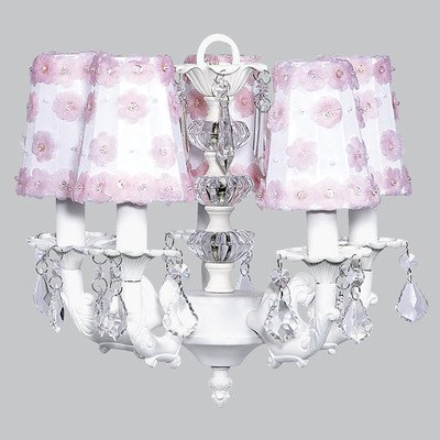 Petal Flower Sconce Shade - Jubilee Collection 7037-6121 5 Arm Stacked Glass Ball White Chandelier with White/Pink Petal Flower Sconce Shade