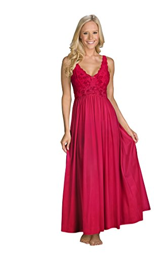 Peignoir Robe Nightgown - Shadowline Women's Plus-Size Silhouette 53 Inch Sleeveless Long Gown, Red, 1X