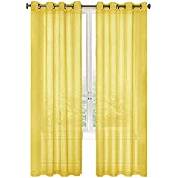 GoodGram 2 Pack Ultra Luxurious High Woven Elegant Sheer Grommet Curtain Panels - Assorted Color (Yellow)