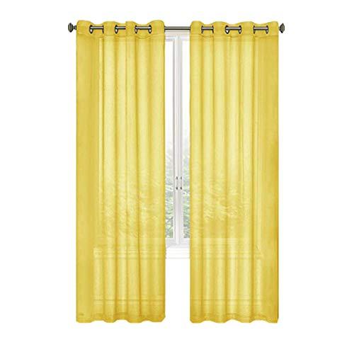 GoodGram 2 Pack Ultra Luxurious High Woven Elegant Sheer Grommet Curtain Panels - Assorted Color (Yellow) -