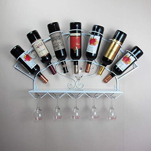 Wine Rack Wrought Iron Wine Glass Rack Creative Bar Home Wall Wine Display Stand. (Color : White)