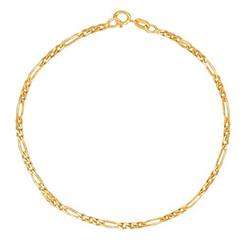 14k Yellow Gold Figaro Link Chain Anklet Ankle Bracelet 1.3 Mm 10 Inches