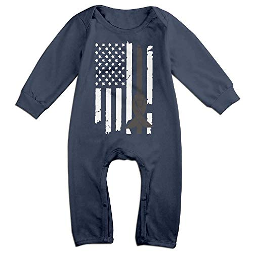 - Mri-le1 Baby Boy Girl Bodysuits Melanoma Awareness USA Flag-1 Baby Clothes
