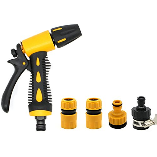 Water Gun,Hmane 5Pcs High Pressure Car Garden Washing Cleaner Garden Hose Nozzle Hand Sprayer with Pacifier Universal Joint--Yellow + Black