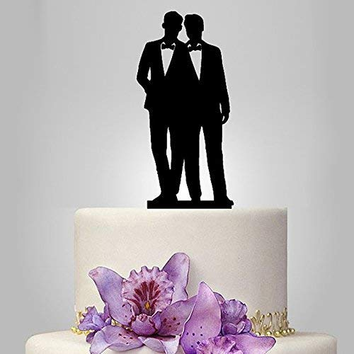 Gay Couple Cake Topper, Black Color Acrylic Silhouette Couple Groom and Groom Wedding Party Decorations