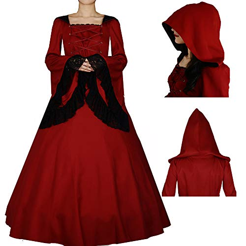 I-Youth Women's Witch Vampire Costume Medieval Renaissance Victorian Gothic Hooded Dress for Halloween Coaplay XXL -