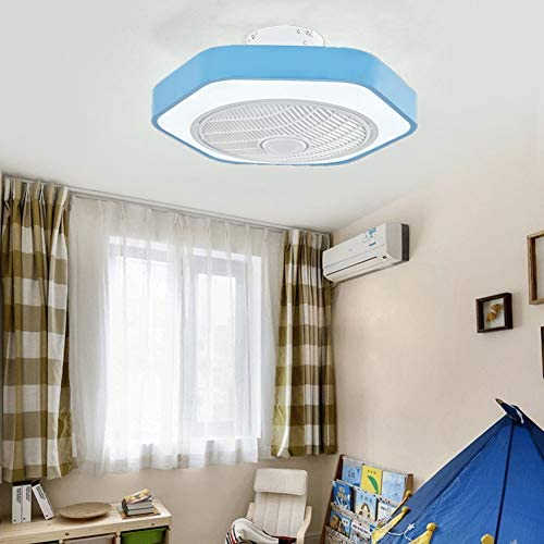 Aqajyh Ceiling Fan With Lights Invisible Bladeles Ceiling Fan With Dimmable Light Kit With Led Light And Remote Control For Living Room Bedroom Dining Room Blue