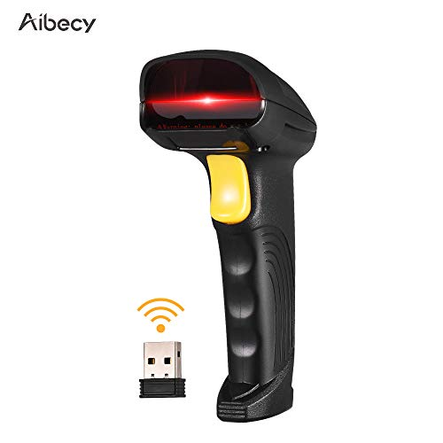 (Aibecy 2-in-1 2.4G Wireless Barcode Scanner & USB Wired Barcode Scanner Automatic Handheld 1D Bar Code Scanner Reader with Rechargeable Battery Mini USB Receiver USB Cable for Computer Laptop )