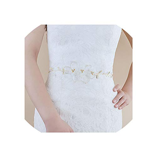- Vicky Fashion Wedding Dress Accessories Flowers Applique Belt Headband with Pearl for Bridal Women Dresses Belts Soiree Party,Champagne