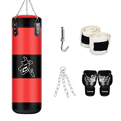 MMA Boxing Heavy Punching Training Bag with Chains +Handbag Hook+Boxing Gloves+Hands Bandages Kickboxing Muay Thai…