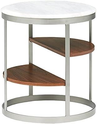 Marca Amazon - Rivet - Mesa auxiliar redonda con tres estantes ...