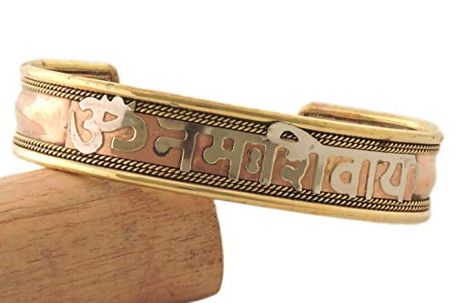 (Handmade Tibetan Three Metal Healing Mantra Yoga Bracelet (Om Nama Shivaye))