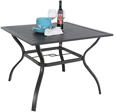 PHI VILLA 37 x 37 Patio Outdoor Dining Table with Umbrella Hole, Square Bistro Metal Steel Slat Table for Garden Backyard Poolside Deck, Black
