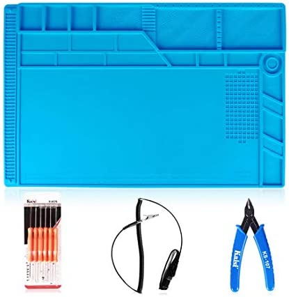 Kaisi solder pad repair work mat with scale and screw position, and 6 auxiliary tools, anti-static wrist and precision cutting Pliers silicone solder mat Size 21.6 x 13.8 Inches