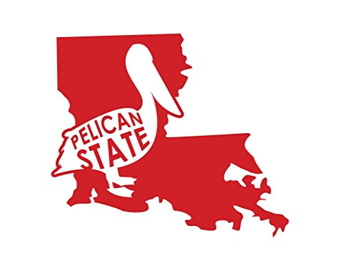 ND211R Louisiana The Pelican State Decal Sticker | 6.5-Inches By 5.6-Inches | Premium Quality Red Vinyl -