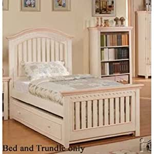 Twin Size Bed with Trundle in Cream Finish