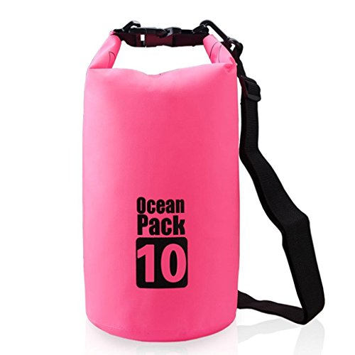 Lightahead Waterproof Dry Bags 10L With Free Waterproof Cellphone Case for Kayaking/Boating/Canoeing/Fishing/Rafting/Beach/Hiking (Pink) by Lightahead