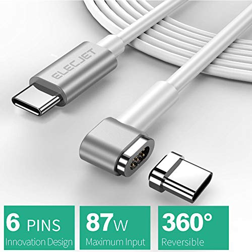 6PIN Magnetic Cable MacBook Pro, 4.3A 87W Fast Charge USB C to USB C -Apple USB C Charger Power Cable - Samsung S8, Dell XPS, USB C Devices. (6.6FT-White) by ELECJET